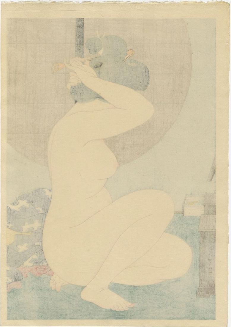 Hakuho Hirano: Arranging Hair after Bath woodblock - 2