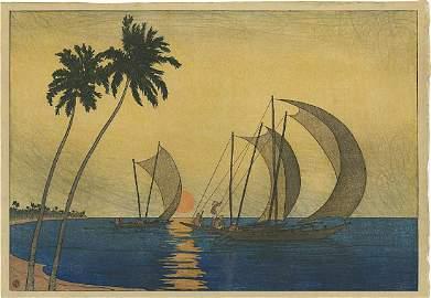 Charles Bartlett: Ceylon Woodblock 1916 Pre-Earthquake