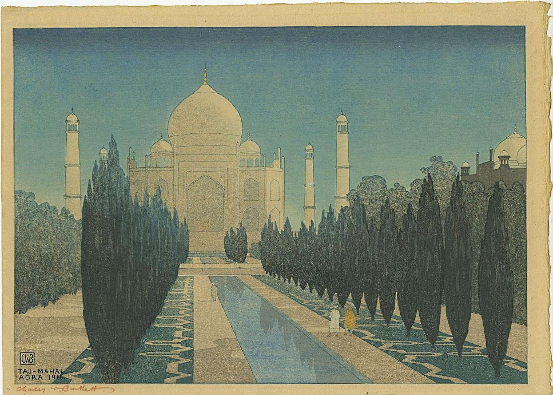 Charles Bartlett: Taj Mahal 1916 Pre-Earthquake Woodcut