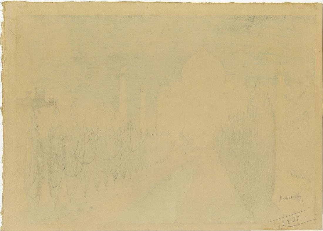 Charles Bartlett: Taj Mahal 1916 Pre-Earthquake Woodcut - 2