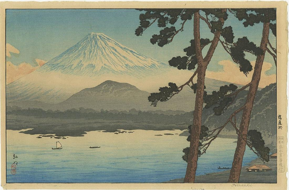 Shotei Takahashi: Lake Shojin Woodblock 1929 1st Ed.