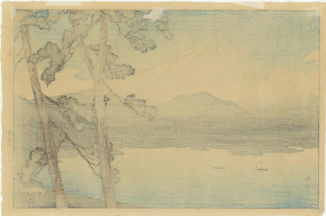 Shotei Takahashi: Lake Shojin Woodblock 1929 1st Ed. - 2