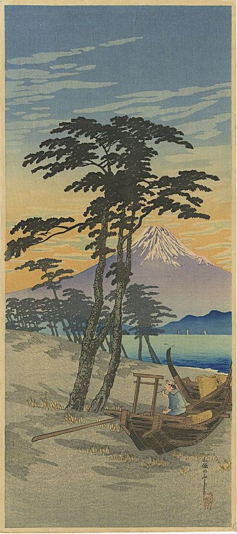 Shotei Takahashi: Mt. Fuji from Miho Woodblock 1932