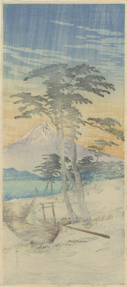 Shotei Takahashi: Mt. Fuji from Miho Woodblock 1932 - 2