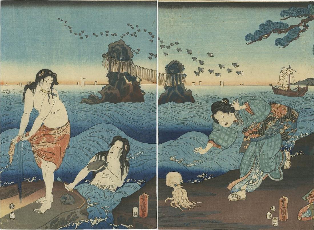Kunisada: Awabi Divers and Octopus Woodblock