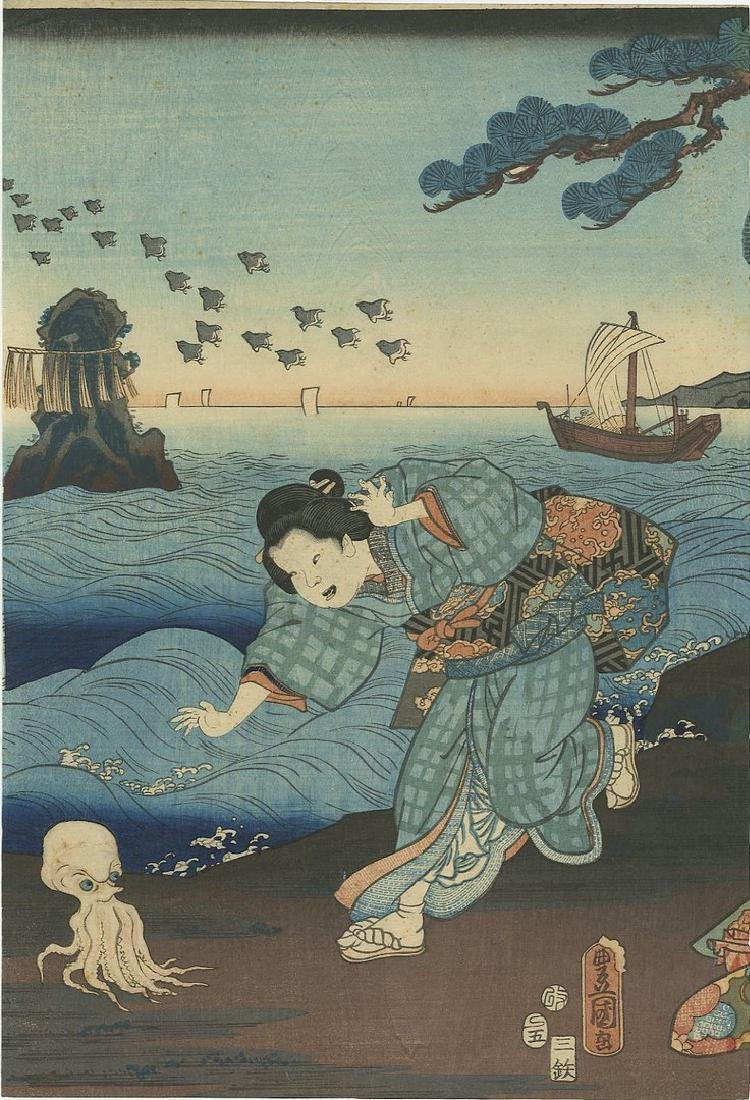 Kunisada: Awabi Divers and Octopus Woodblock - 4