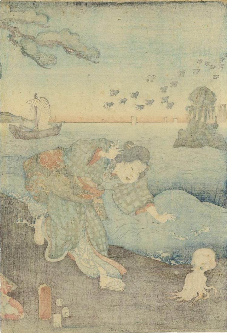 Kunisada: Awabi Divers and Octopus Woodblock - 5