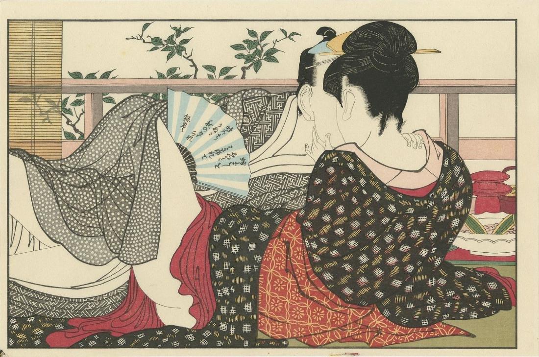 Utamaro: Lovers in an Upstairs Room Woodblock