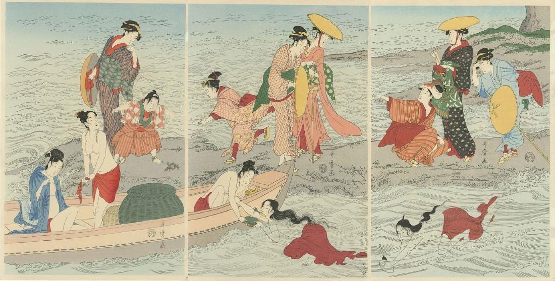 Utamaro: Awabi-tori Triptych Woodblock