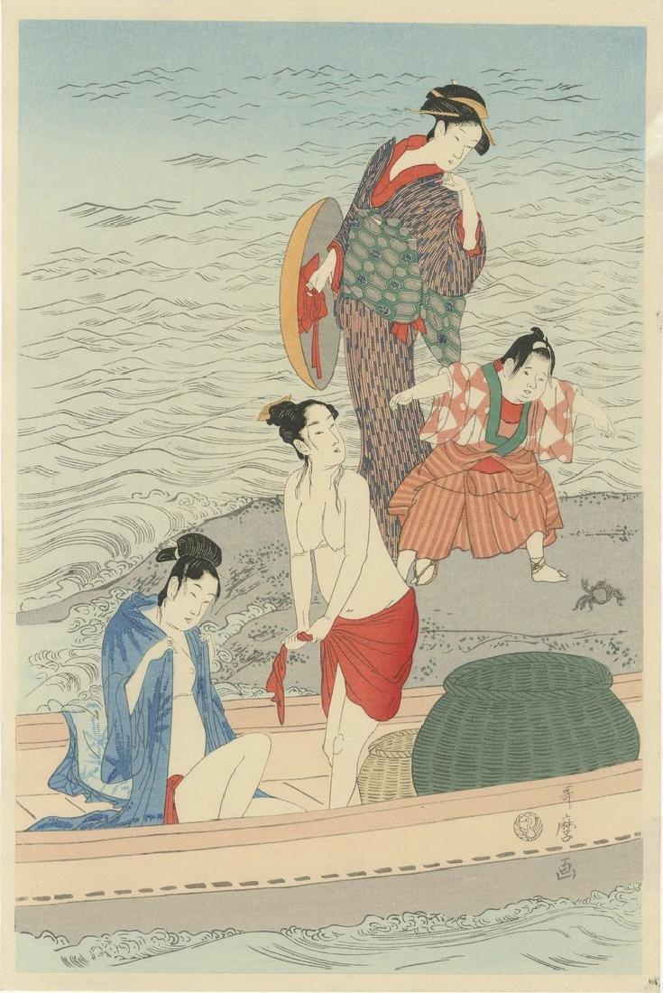 Utamaro: Awabi-tori Triptych Woodblock - 2