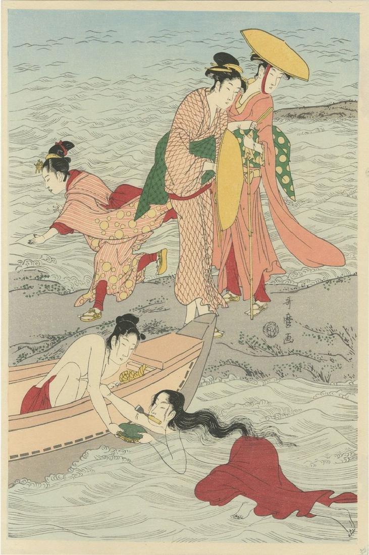 Utamaro: Awabi-tori Triptych Woodblock - 3
