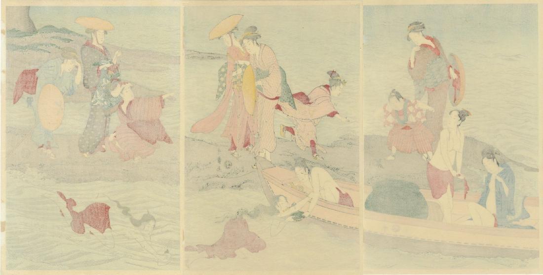 Utamaro: Awabi-tori Triptych Woodblock - 5