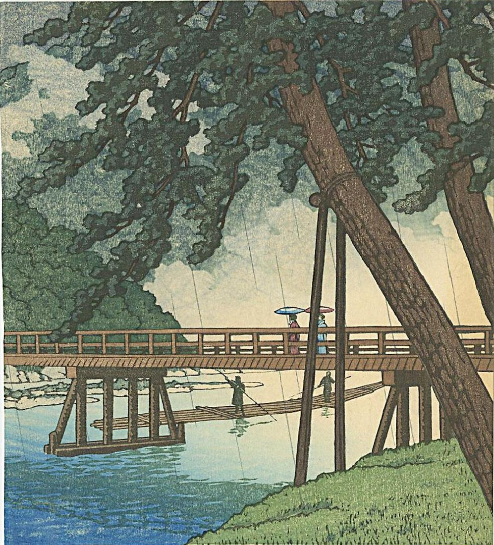 Not Signed: Togetsu-kyo Bridge Kyoto Woodblock