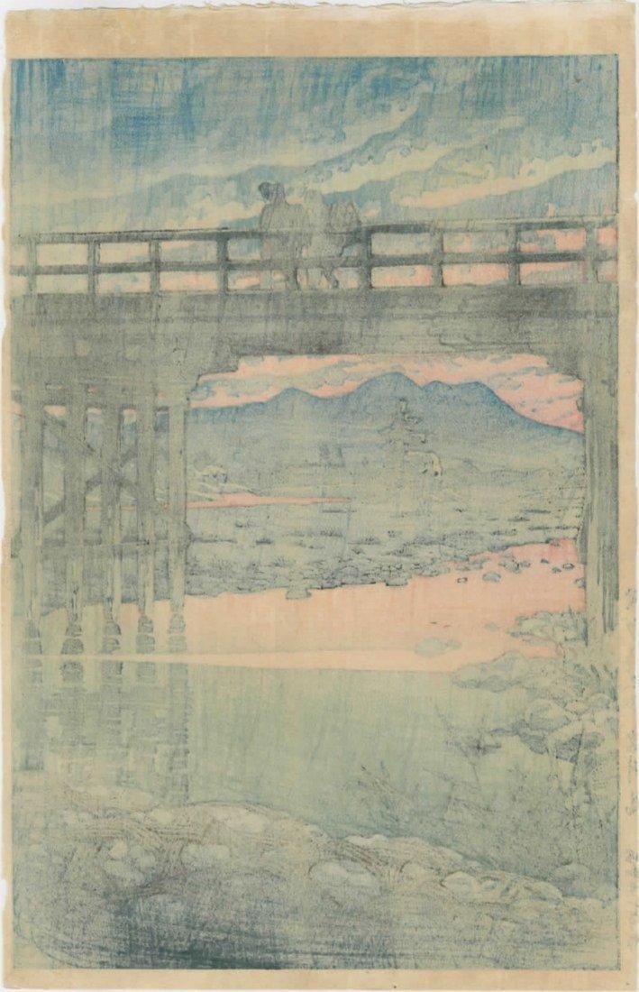Hasui: Iwai Bridge, Sakuyama Woodblock 1946 - 2