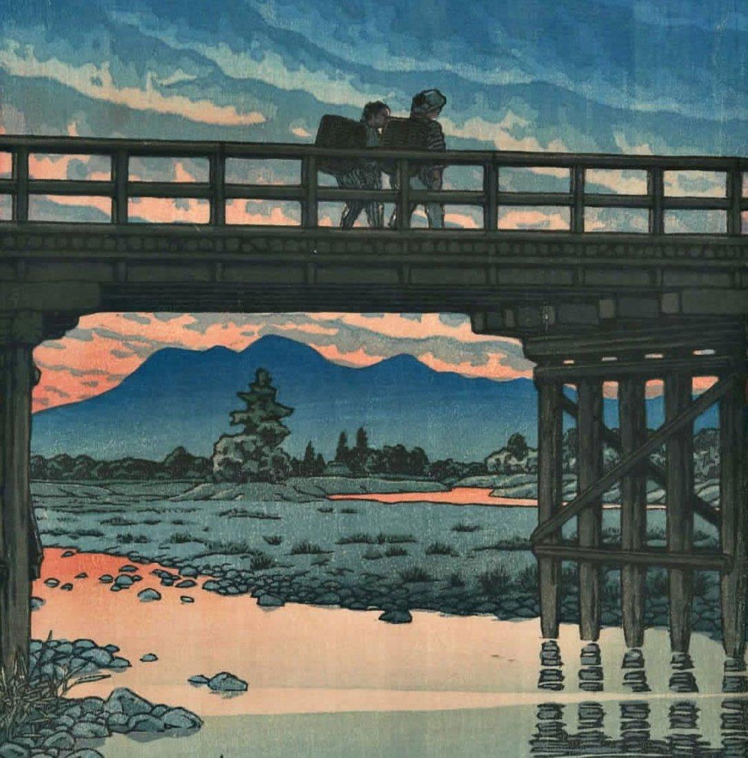 Hasui: Iwai Bridge, Sakuyama Woodblock 1946 - 3