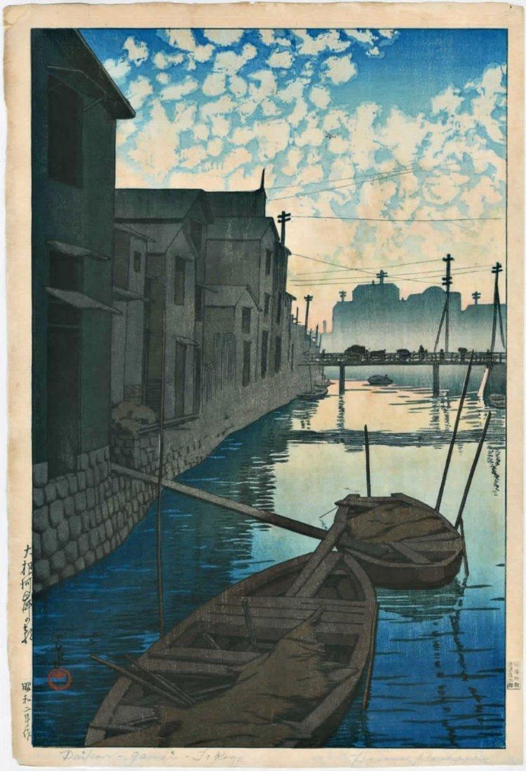 Hasui: Dawn at Daikon Gashi Riverbank Woodblock 1927