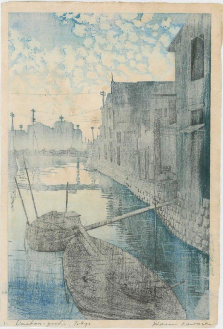 Hasui: Dawn at Daikon Gashi Riverbank Woodblock 1927 - 2