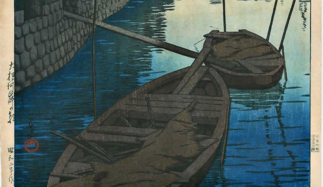 Hasui: Dawn at Daikon Gashi Riverbank Woodblock 1927 - 3