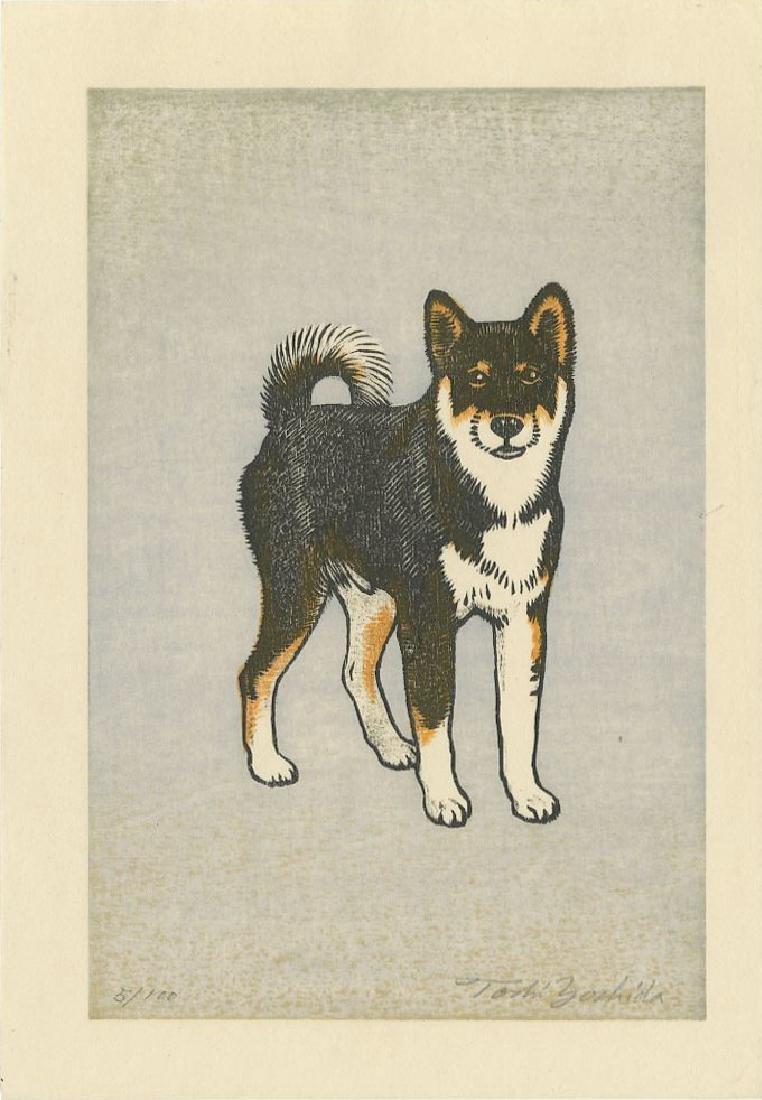 Toshi Yoshida - Monjiro, Shiba Dog #5/100 woodblock