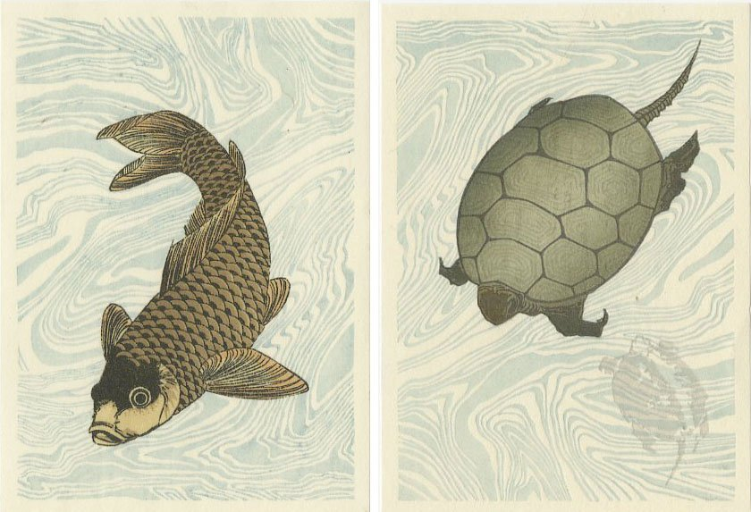 (After) Hokusai - SET 2 Carp + Turtles woodblocks