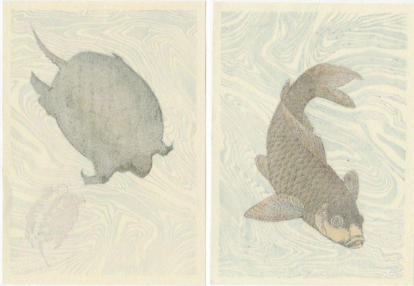 (After) Hokusai - SET 2 Carp + Turtles woodblocks - 4