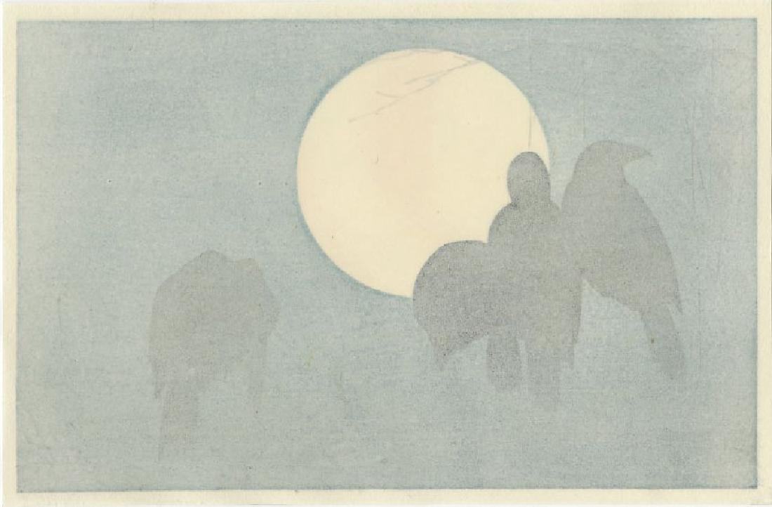 (After) Ogata Korin - Crows and Moon woodblock - 2
