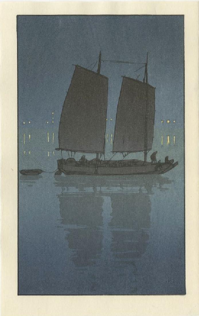 (After) Hiroshi Yoshida - Sailing Boat, Night woodblock