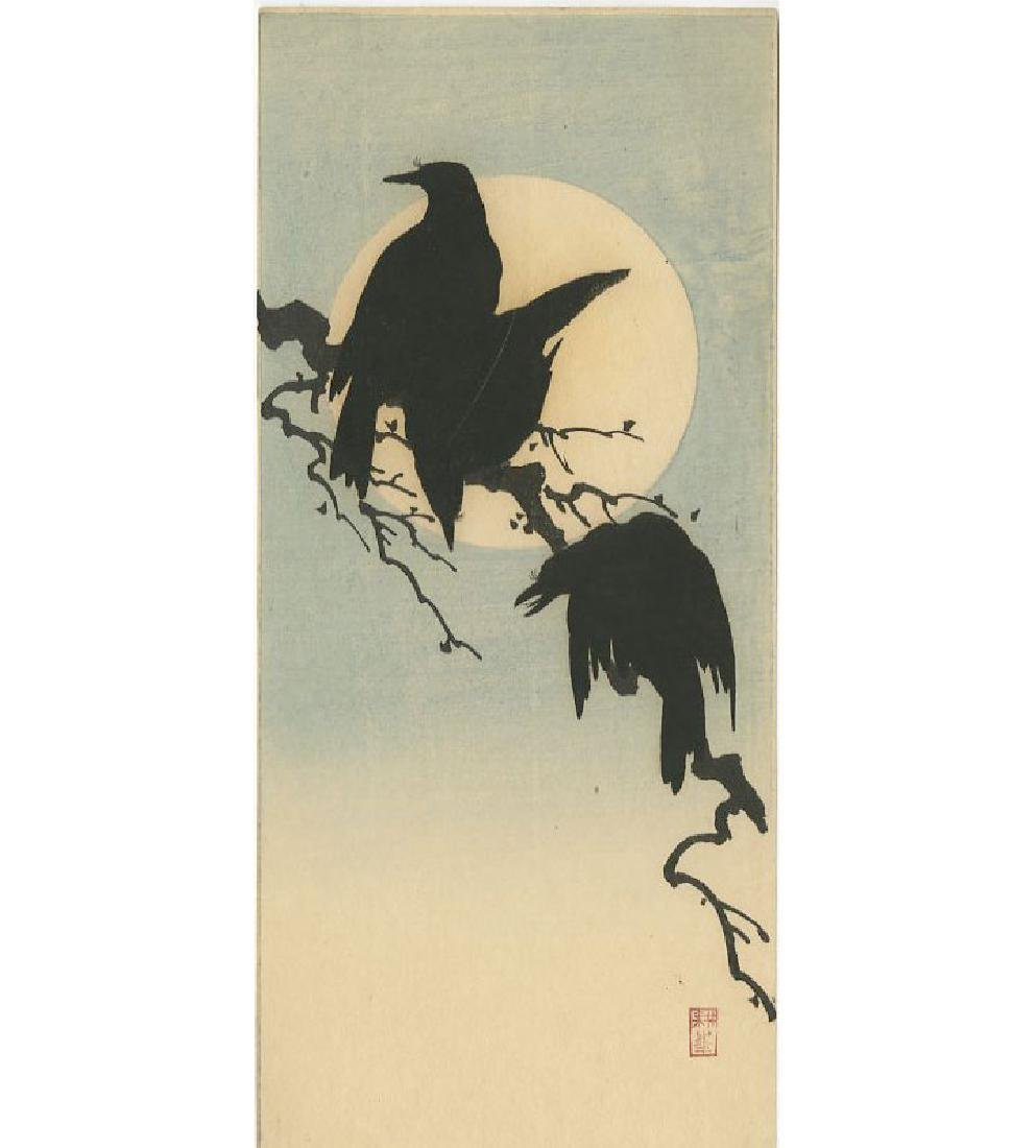 Shoda Koho - Crows and Moon woodblock
