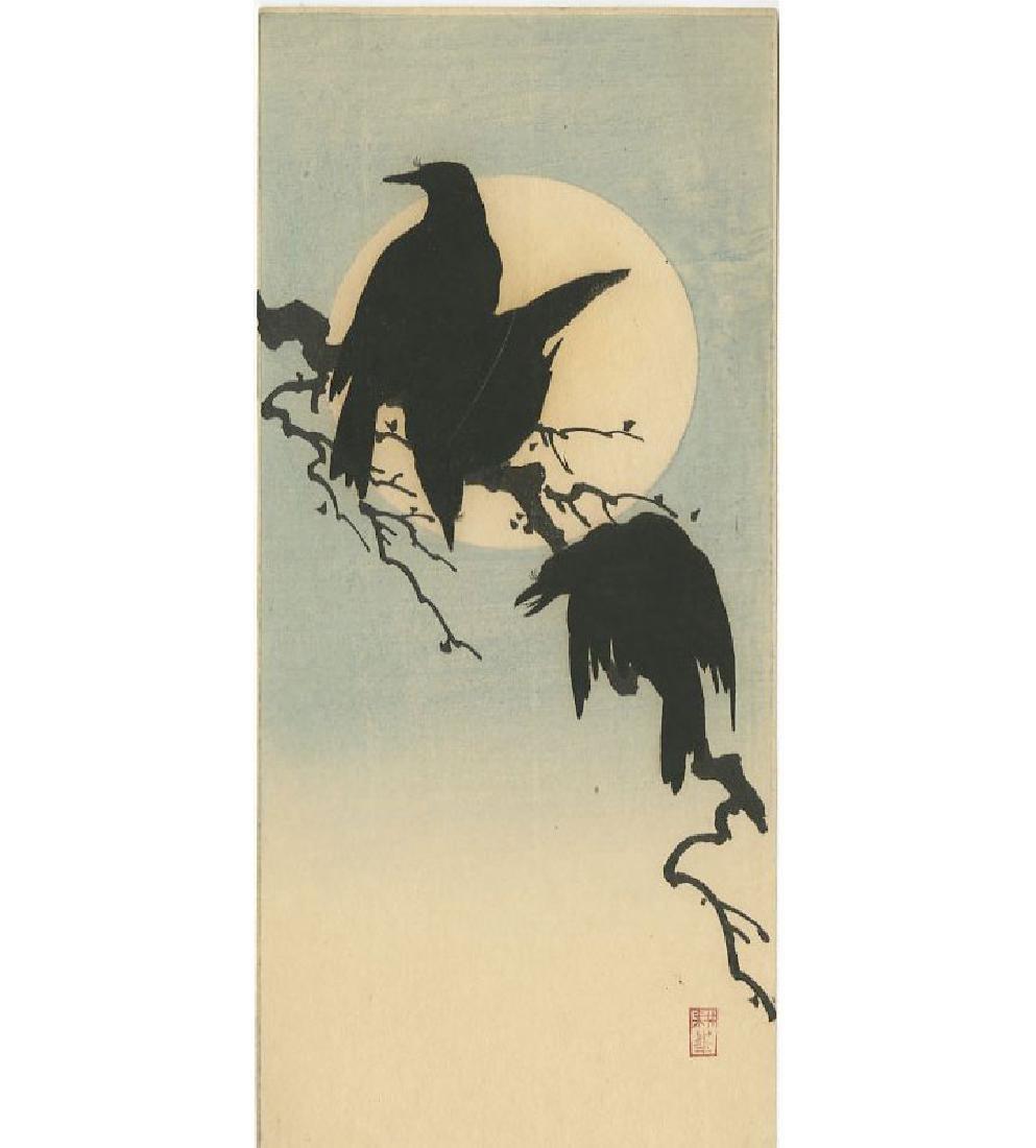 Shoda Koho - Crows and Moon woodblock