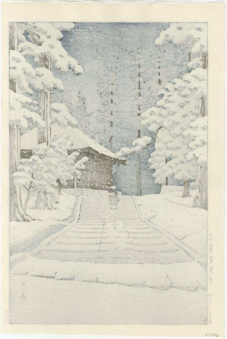 Kawase Hasui - Konjikido in Snow woodblock - 2