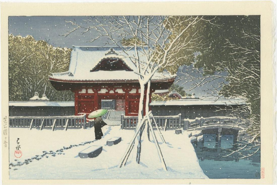 Kawase Hasui - Snow at Shiba Park woodblock