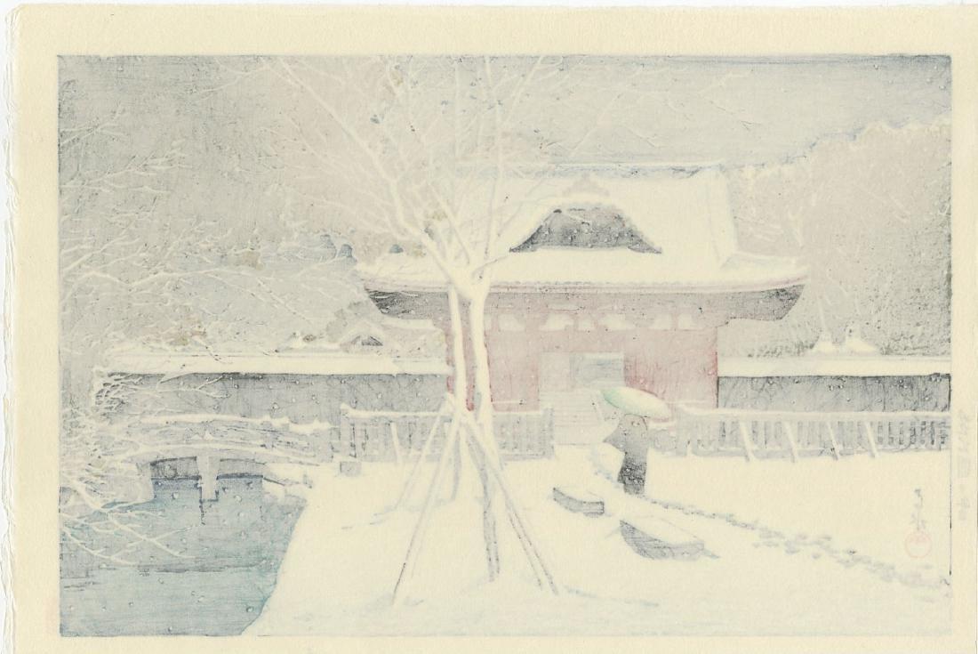 Kawase Hasui - Snow at Shiba Park woodblock - 2
