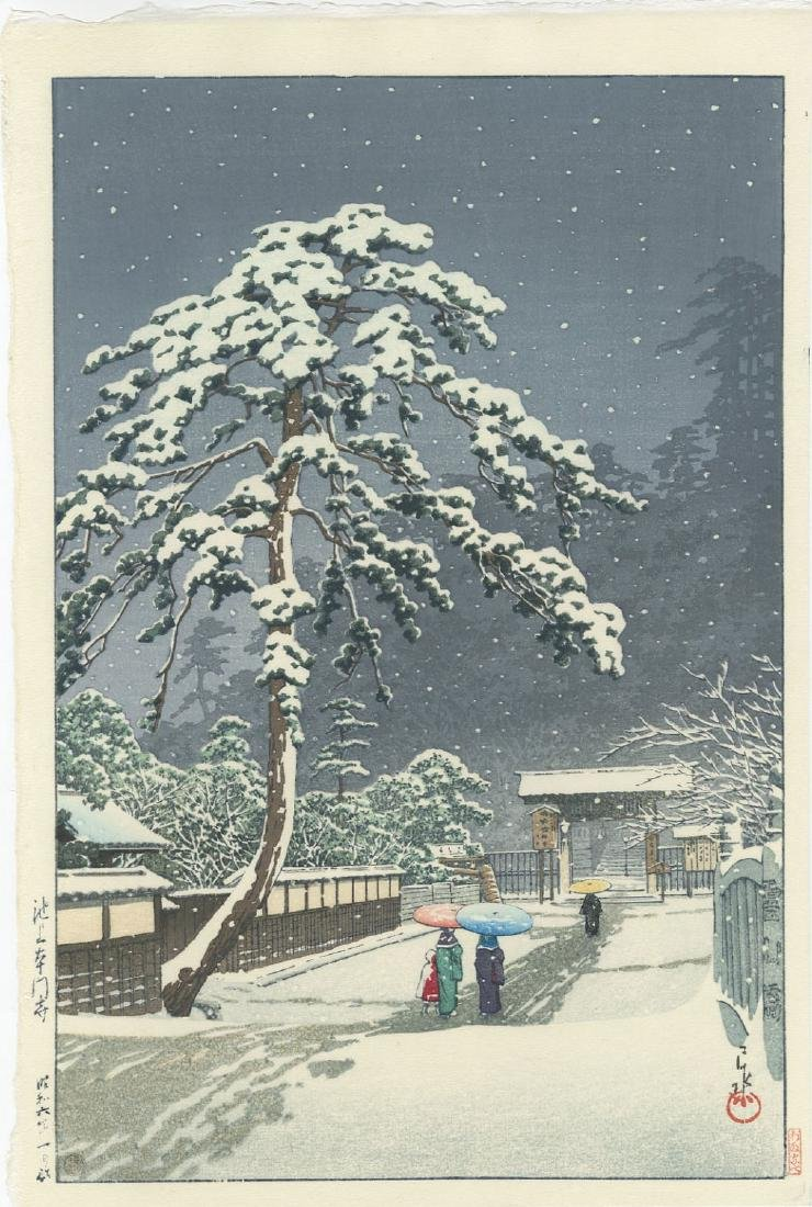 Kawase Hasui - Ikegami Honmonji Temple woodblock