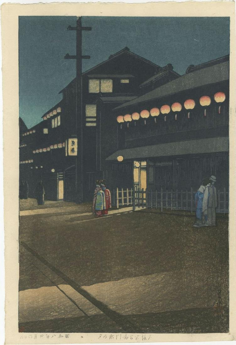 Kawase Hasui - Evening at Soemoncho, Osaka woodblock