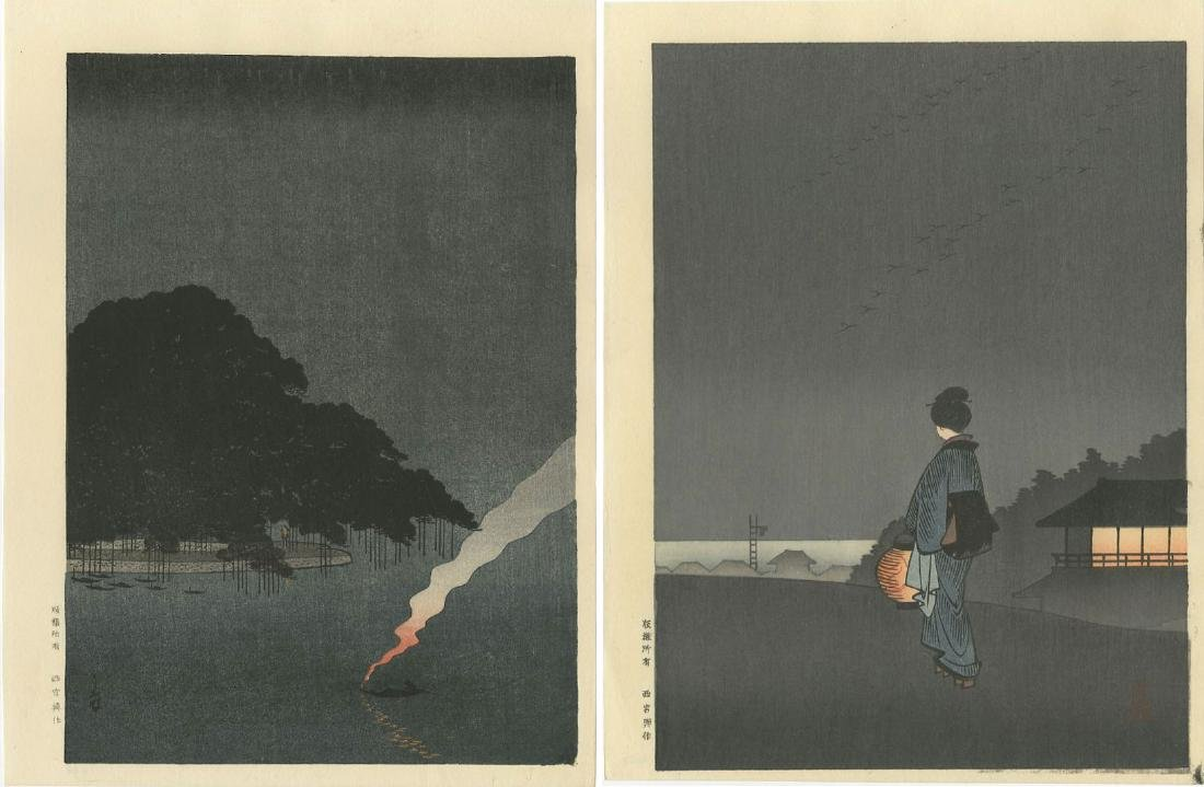Night Scenes - PAIR: Pine Tree Karasaki + Sumida River