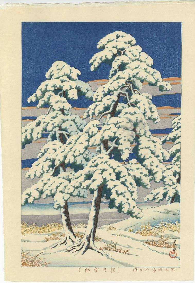 Kawase Hasui - Clearing After Snow in Pines woodblock