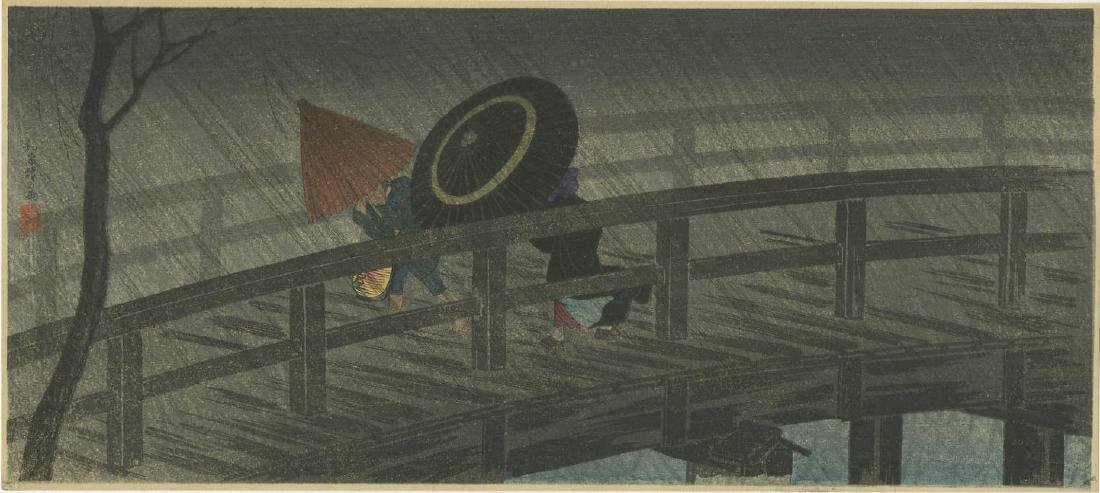 Takahashi Shotei - Night Shower Izumi Bridge woodblock