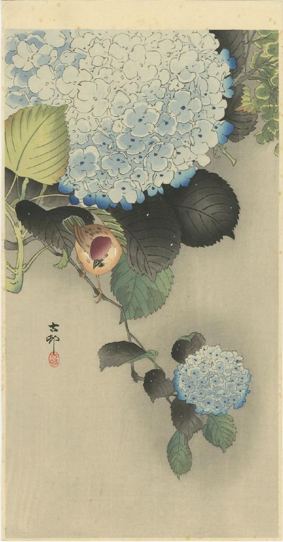 Ohara Koson - Sparrow on Blue Hydrangea woodblock