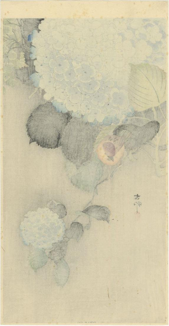 Ohara Koson - Sparrow on Blue Hydrangea woodblock - 2