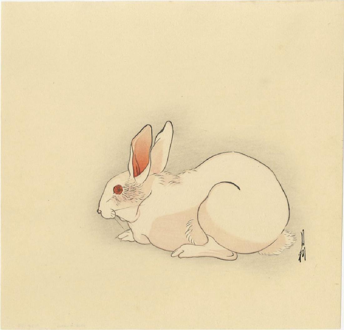 Ogata Gekko - White Rabbit  woodblock (Muller Estate)