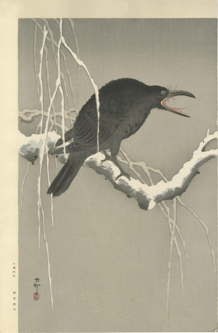 Ohara Koson - Cawing Crow (Muller Estate) woodblock