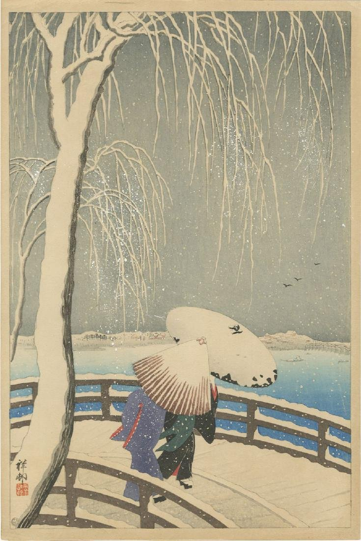 Ohara Koson - Snow at Willow Bridge 1927 woodblock
