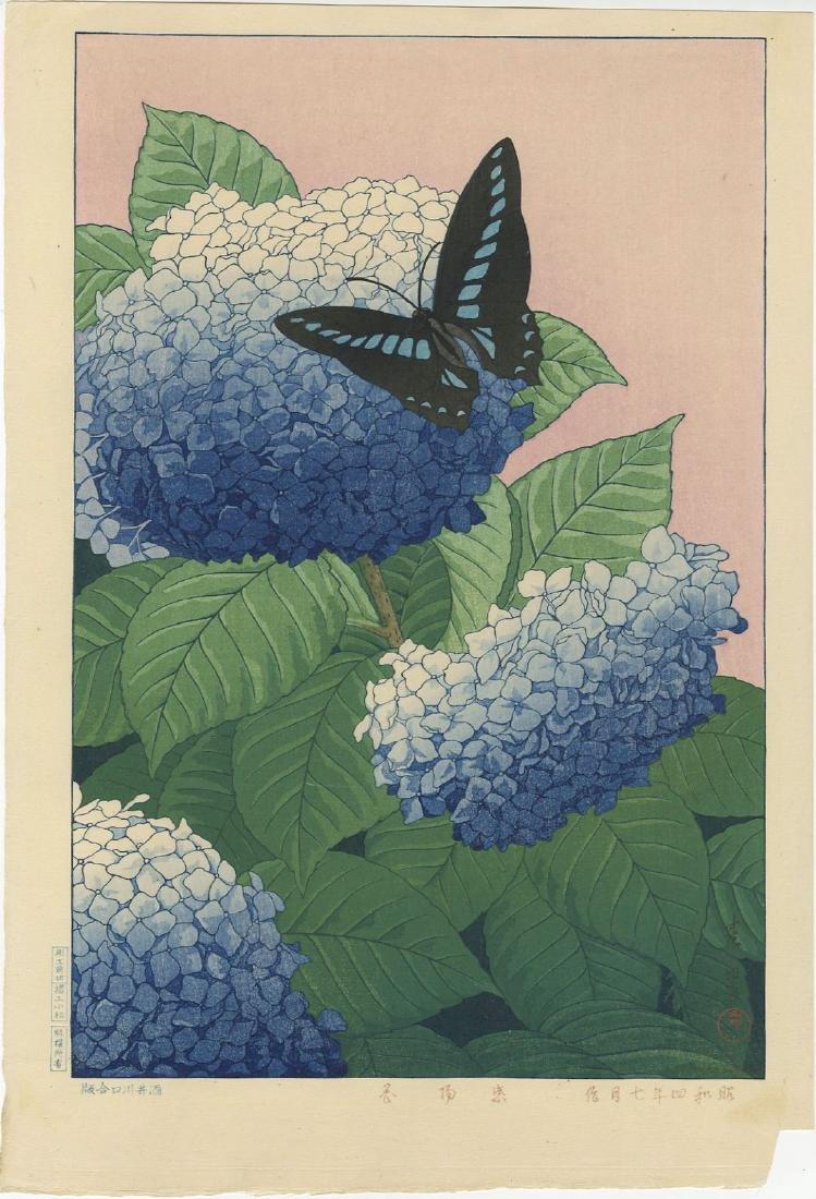 Taisui Inuzuka - Hydrangea and Butterfly woodblock
