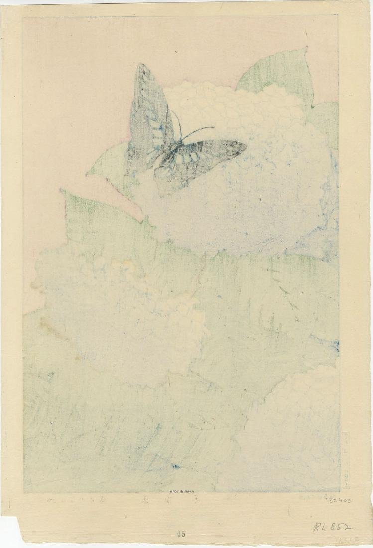 Taisui Inuzuka - Hydrangea and Butterfly woodblock - 2