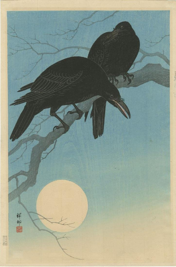 Ohara Koson - Crows in Moonlight 1927 woodblock