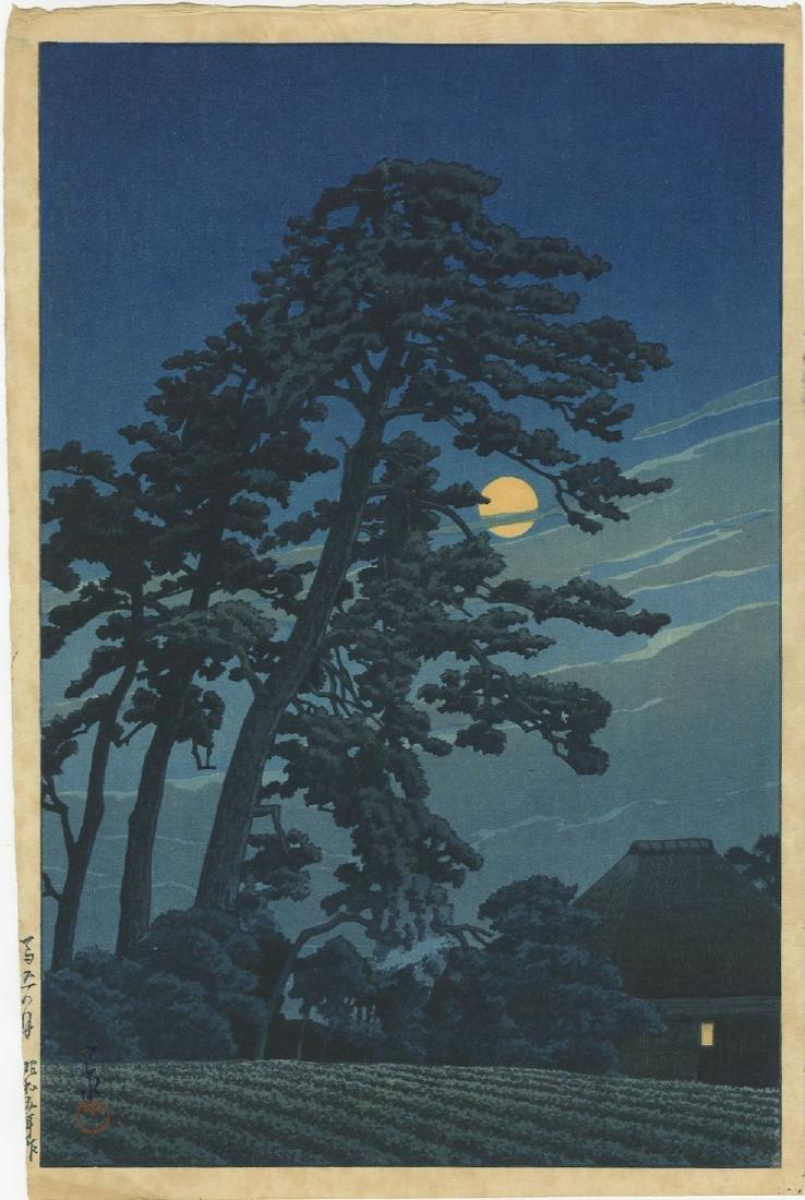 Kawase Hasui - Moon at Megome 1930 woodblock