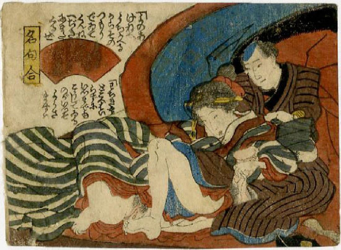 Utagawa School - 1830's original shunga woodblock A