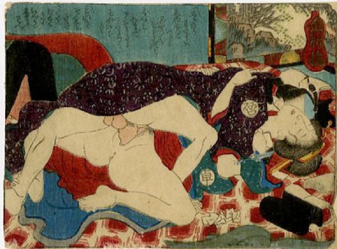 Utagawa School - 1830's original shunga woodblock B