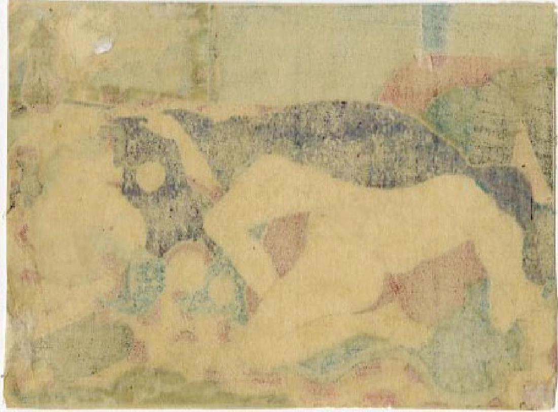 Utagawa School - 1830's original shunga woodblock B - 2