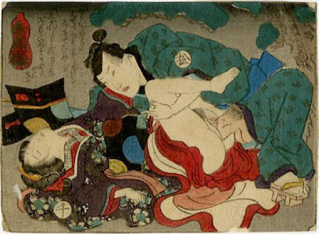 Utagawa School - 1830's original shunga woodblock D